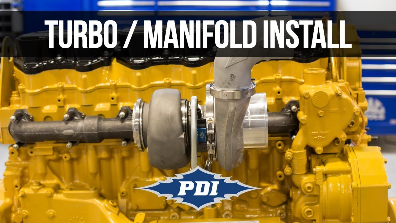 how to install pdi turbo exhaust manifold cat c15 [ 1280 x 720 Pixel ]