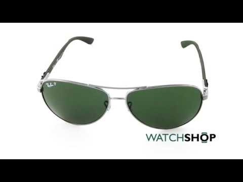 142cf12812e08 Ray-Ban Men s Pilot Shape Sunglasses (RB8313-004 N5-61) - YouTube