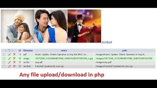 Any file upload/download in php(pdf file,rar file,mp3 file,image file, etc.)