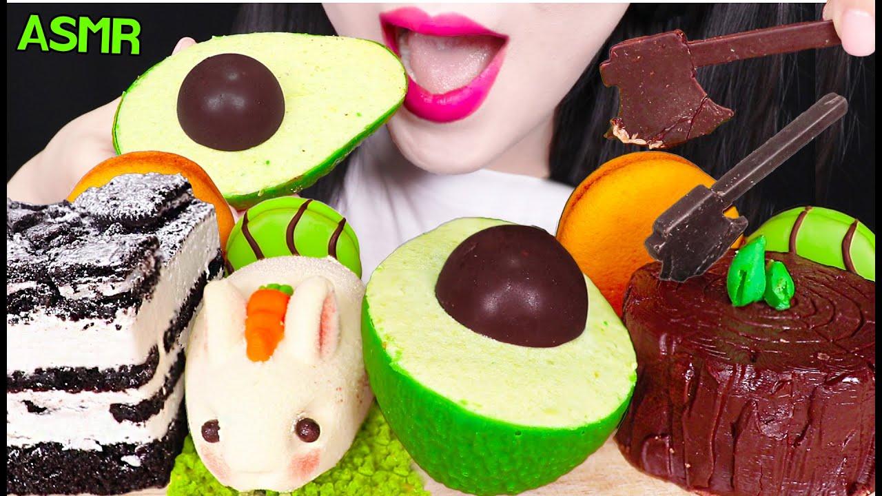 ASMR MOUSSE CAKE PARTY *AVOCADO CAKE, RABBIT CAKE, OREO CAKE 무스 케이크, 아이스박스 케이크 먹방 EATING SOUNDS