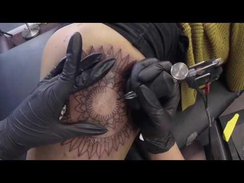Prince tribute custom and original mandala thigh tattoo