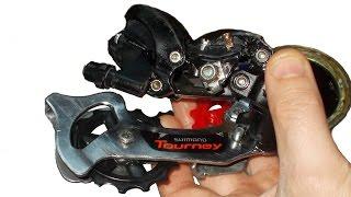 Задняя перекидка переключатель велосипеда, ремонт, реставрация, настройка Shimano Tourney(Мой ВК https://vk.com/id263241899 Полезные видео с моего канала, о ремонте велосипеда. 1) Задняя втулка колеса обслуживан..., 2014-12-25T22:03:30.000Z)