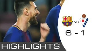 Fc barcelona vs eibar 6 - 1 ●all goals● extended highlights● messi hat-trick