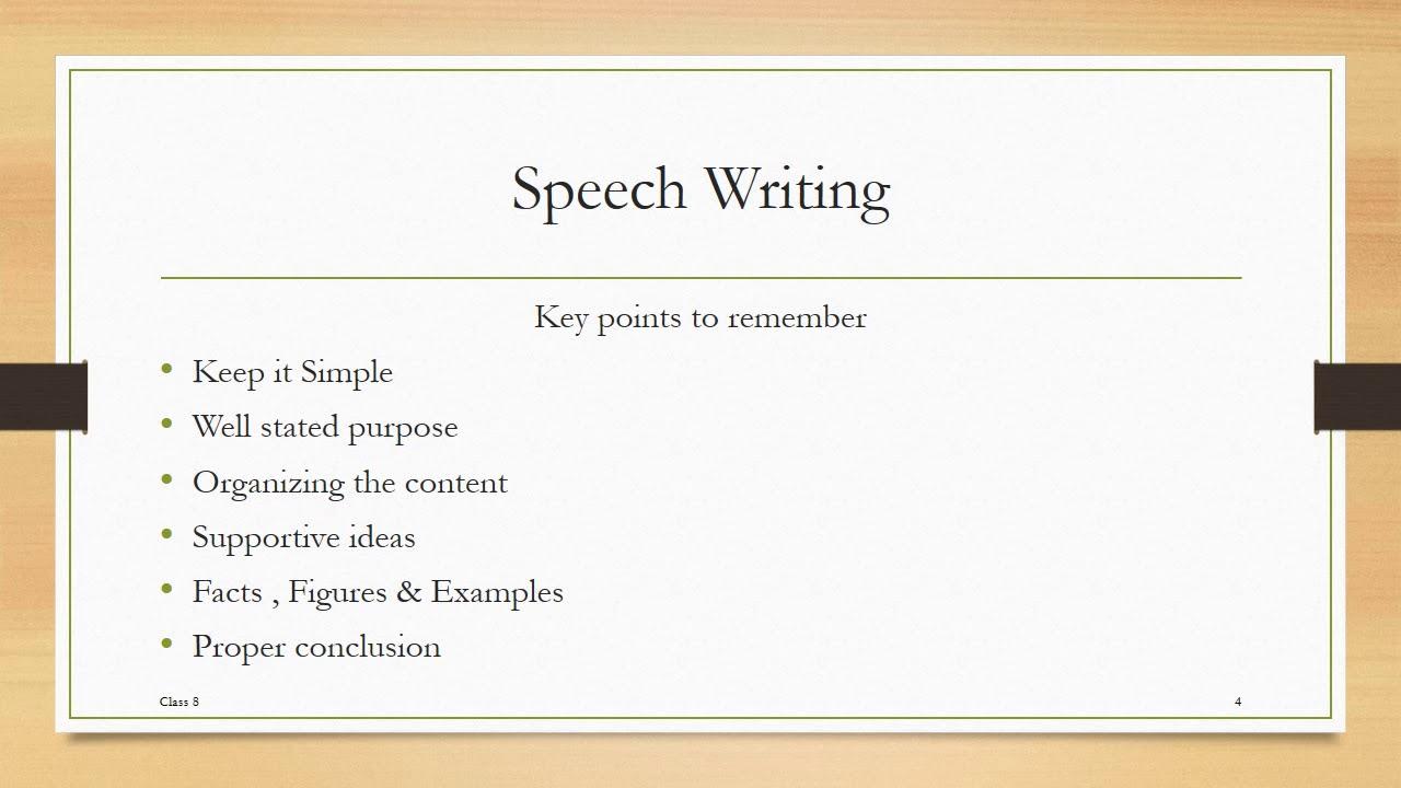 Speech Writing for Class 10