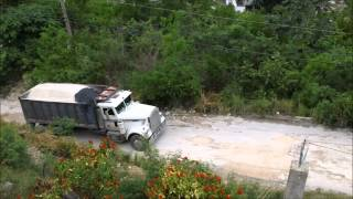 Old Freightliner Dump Truck Climbing A Hill LOADED