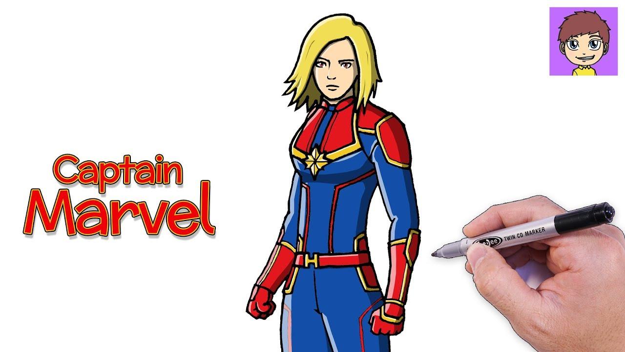 Como Dibujar A Captain Marvel Paso A Paso Dibujos Para Dibujar
