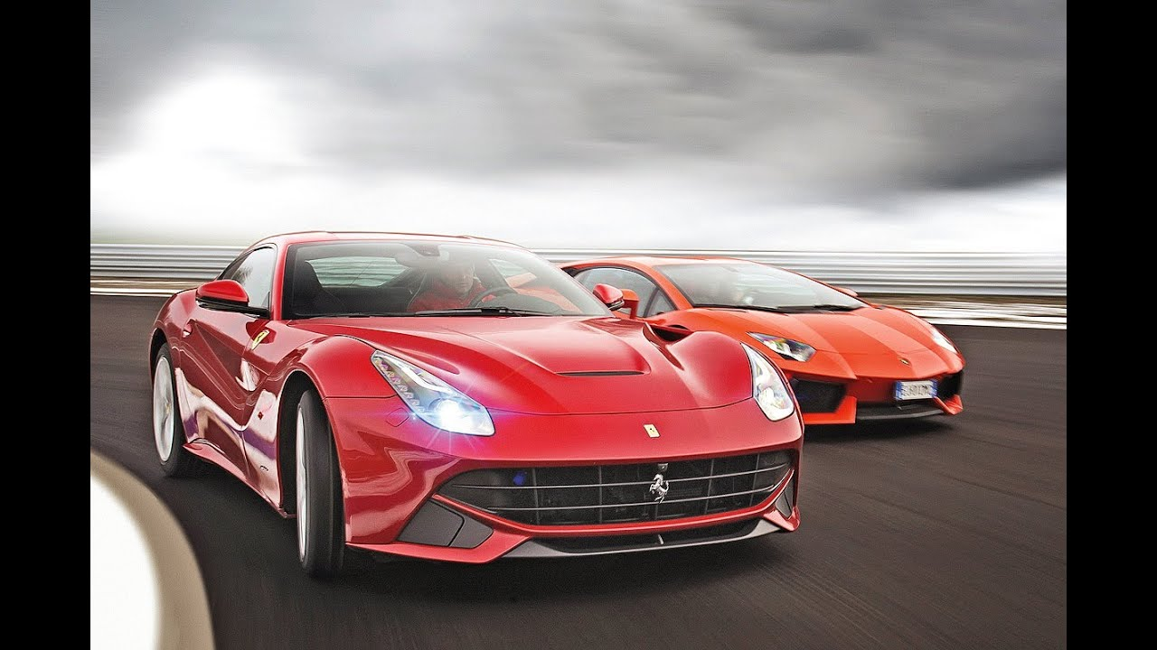 Ferrari F12 Berlinetta vs. Lamborghini Aventador - YouTube