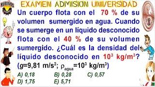 Examen UNI  Admisión Universidad de Ingeniería-Hidrostática empuje solucionario