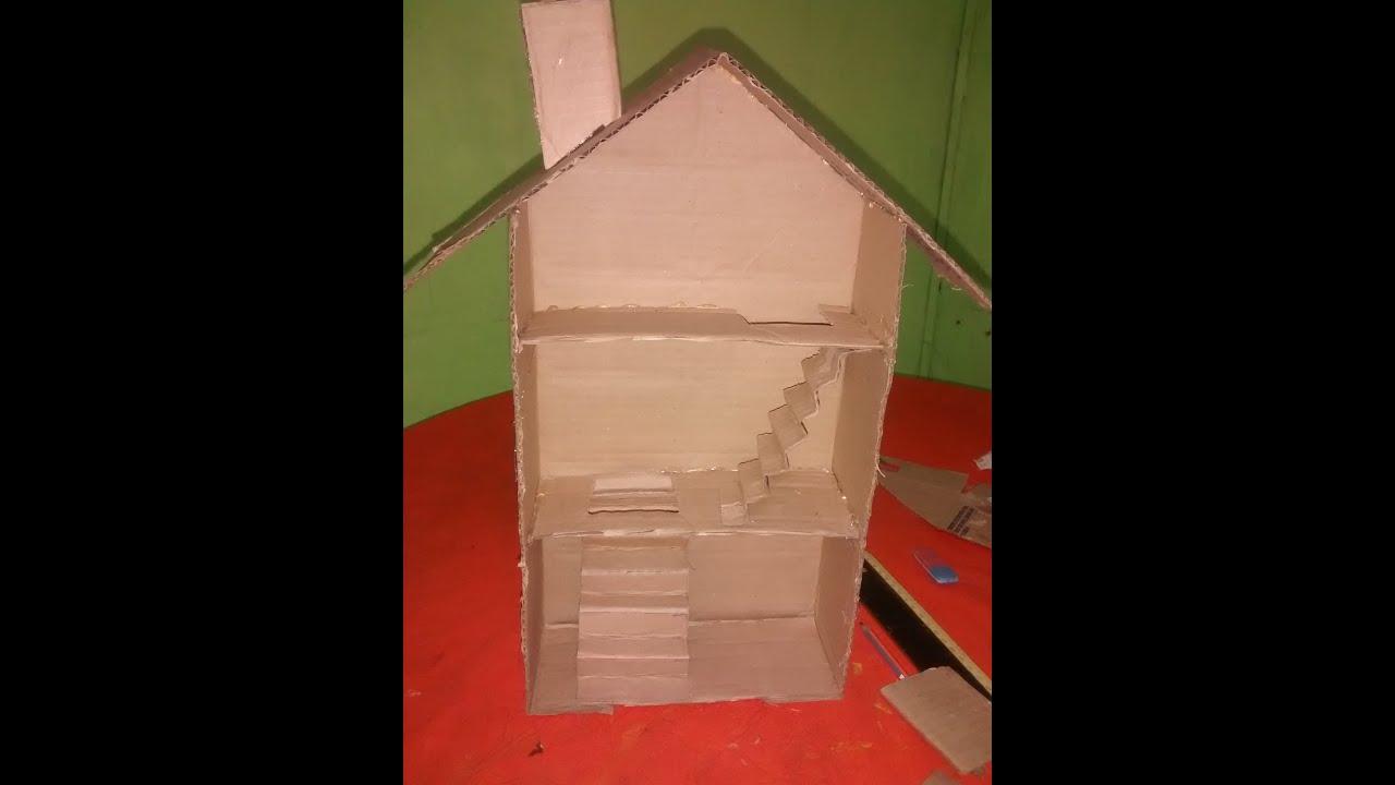Como hacer una casita de mu ecas de cart n youtube for Como aser una casa