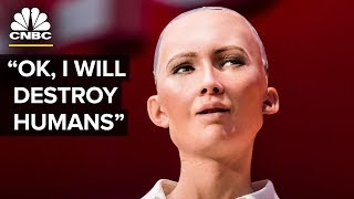 Hot Robot At SXSW Says She Wants To Destroy Humans | The Pulse | CNBC thumbnail