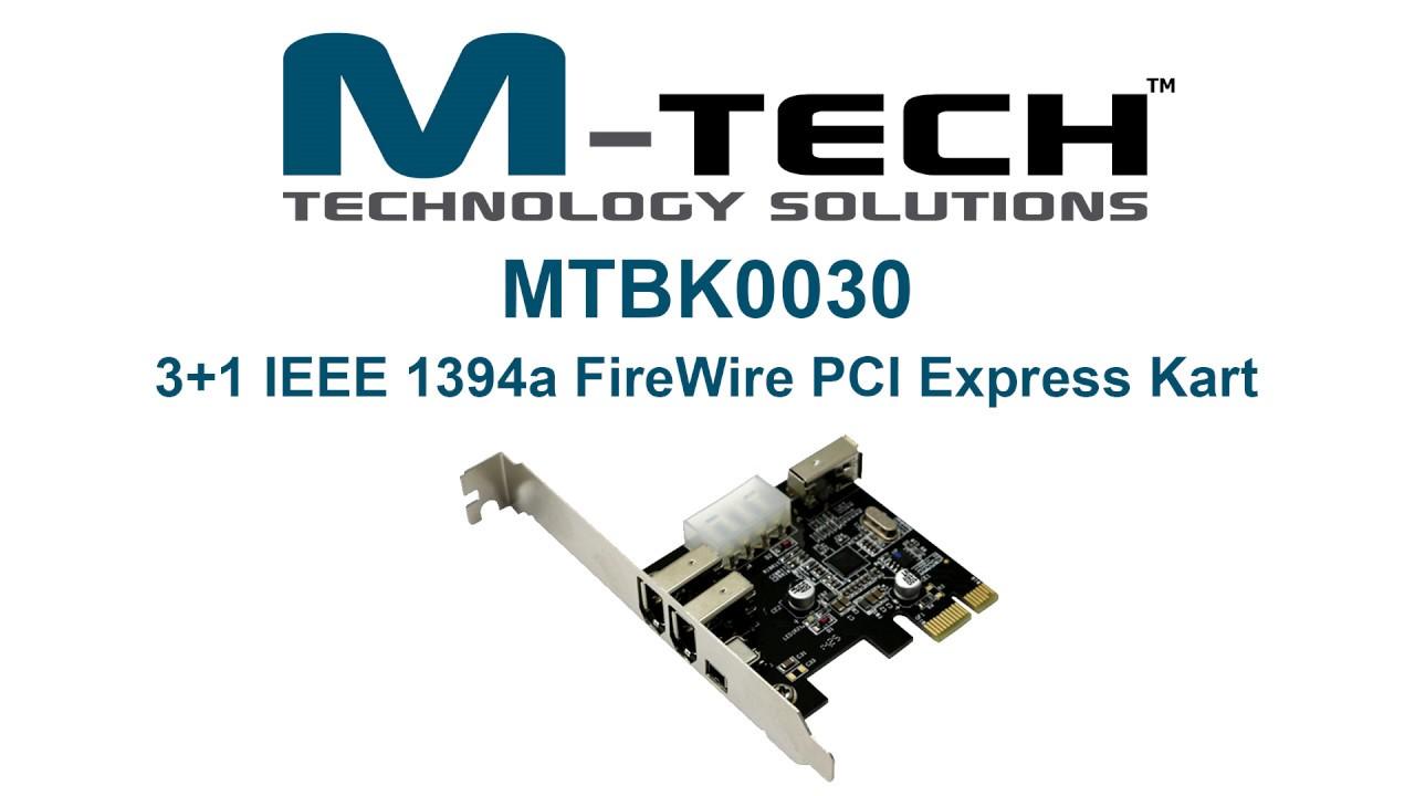M-TECH MTBK0030 IEEE 1394 Firewire 400 PCI Express Kart, 3 Harici + ...
