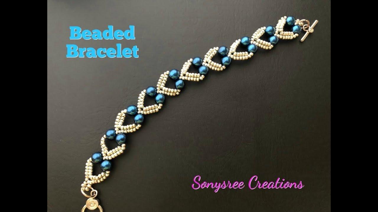 Lovely Hearts Bracelet. DIY Beaded Bracelet. How to make ...