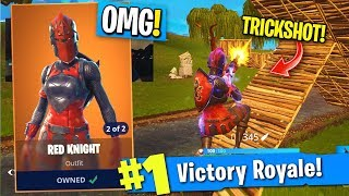 *CRAZY* RED KNIGHT SKIN TRICKSHOT IN FORTNITE! (Red Knight Skin Is BACK Gameplay)