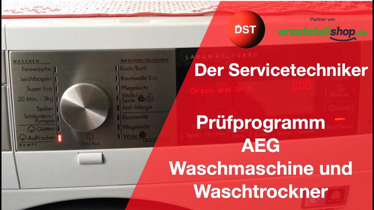 Aeg waschmaschine waschtrockner prüfprogramm und fehlerspeicher