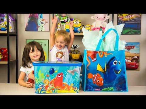 HUGE Finding Dory Surprise Box & Toy Bag Elmo Toys Shopkins Blind Bags Disney Toys Kinder Playtime