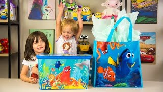HUGE Finding Dory Surprise Box u0026 Toy Bag Elmo Toys Shopkins Blind Bags Disney Toys Kinder Playtime