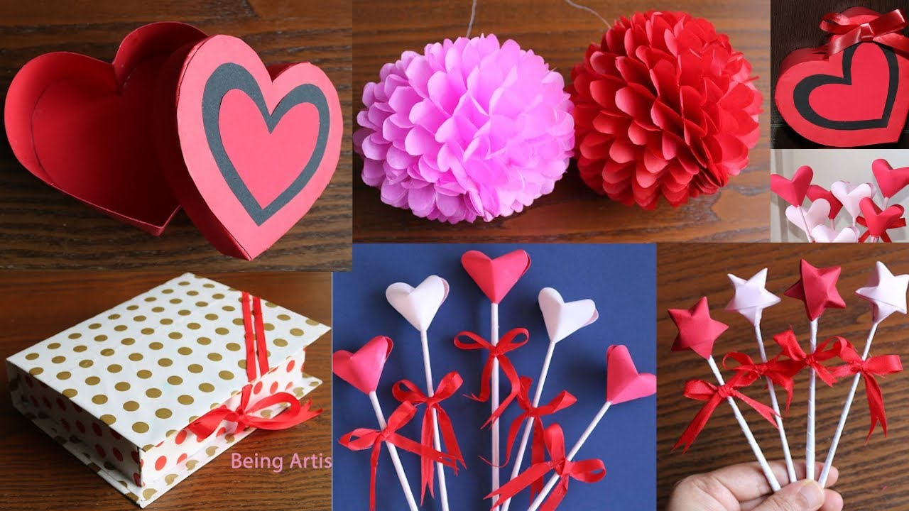 5 Beautiful Paper Craft Works - Paper Wall Decor - Paper Gifts Box - 3D Paper Heart - 3D Paper Star