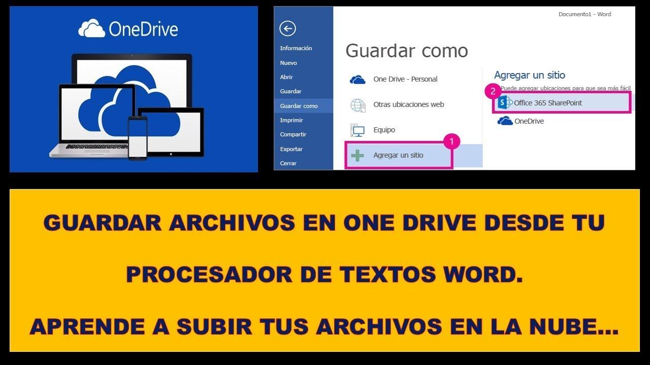Como guardar archivos en ONEDRIVE [en la nube] desde WORD y Usar ...