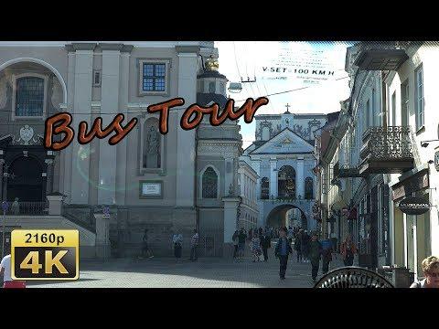 Vilnius, City Tour by Bus  -  Lithuana 4K Travel Channel