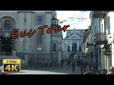 Vilnius, City Tour by Bus  -  Lithuana 4K Travel Channel