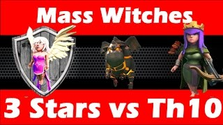 Clash Of Clans - Mass Witch Attack With 3 Jump Spells vs MAXED TH10 for 3 stars
