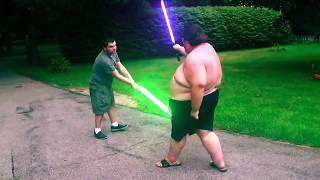 &quotAirsoft Fatty&quot Lightsaber Fight (Remastered)