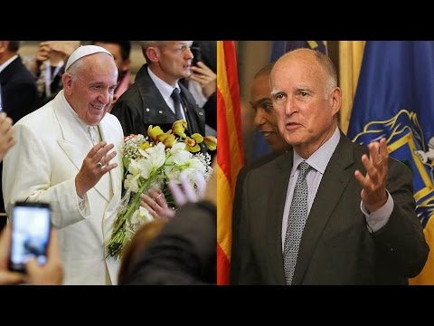 JERRY BROWN WANTS TO REDUCE GASOLINE BY 50 PERCENT. FLYING TO ITALY TO GET ORDERS FROM POPE FRANCIS.