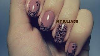Кружевной дизайн ногтей при помощи акриловых красок