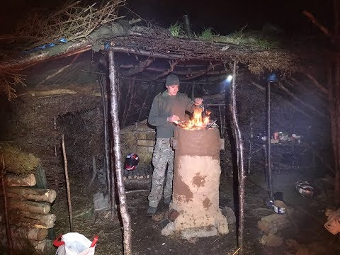 Debris village camp and working on a shelter and the clay kiln