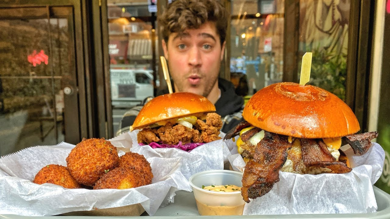 MASSIVE BURGER and COMFORT FOOD HEAVEN at this NYC Restaurant! Food Vlog | DEVOUR POWER