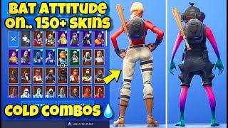 "NEW ""BAT ATTITUDE"" BACK BLING Showcased With 150+ SKINS! Fortnite BR (BEST BAT ATTITUDE COMBOS)"