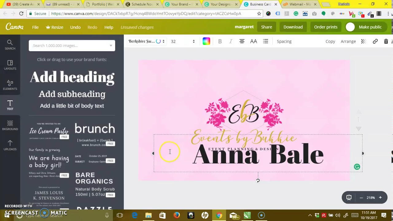 How To Design Business Card With Canva Youtube