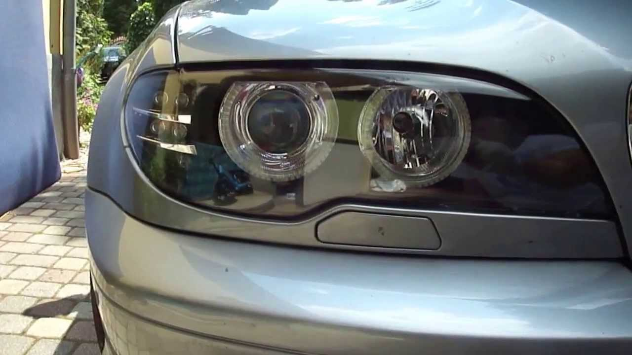 medium resolution of bmw e46 led angel eye upgrade xenon headlight with led signal www bmwtuning hu youtube