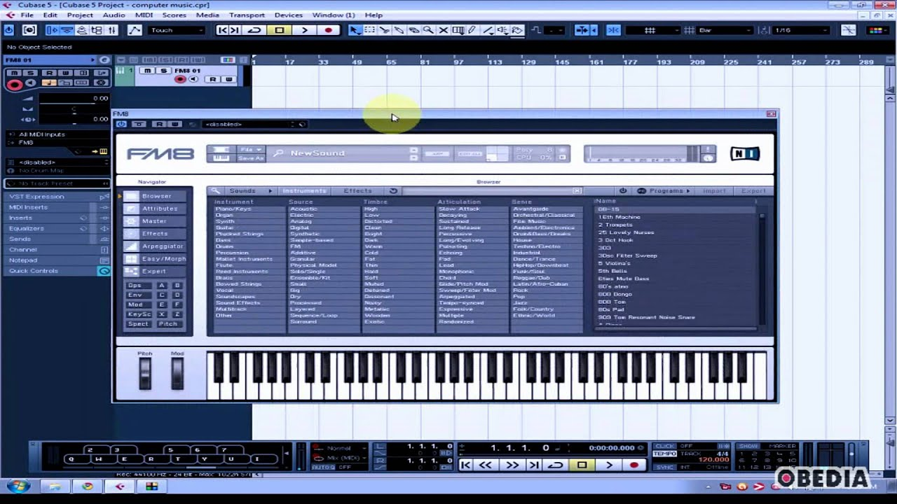CUBASE: How to insert a VST instrument