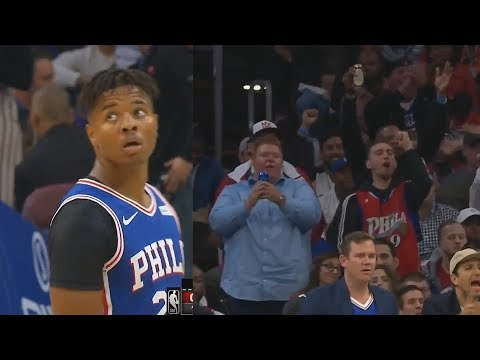 Markelle Fultz Gets Dared To Shoot By Sixers Crowd Then Gets Standing Ovation For Hitting Shot!