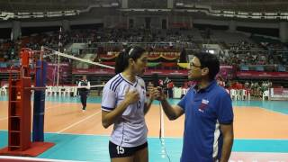 Venezuela's attacker Maria Lopez speaking about her team's campaign in Pool B3 of the World Grand Pr