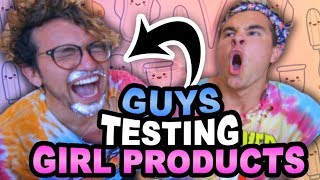 GUYS TESTING GIRL PRODUCTS (WE DYED HIS BEARD)