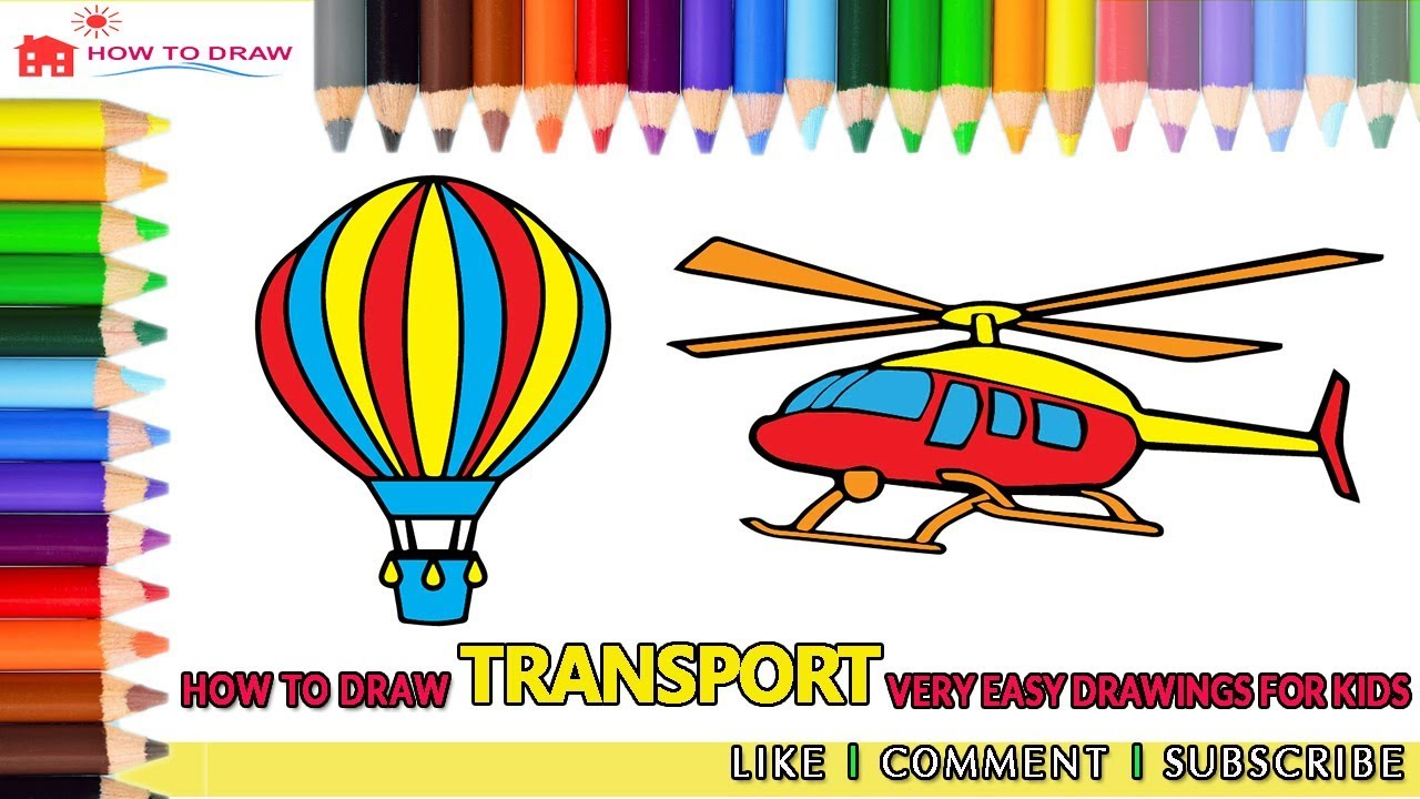How to draw Transport 🚌 How to Draw Air Balloon 🎈 Helicopter 🚁 Very easy  drawings for kids