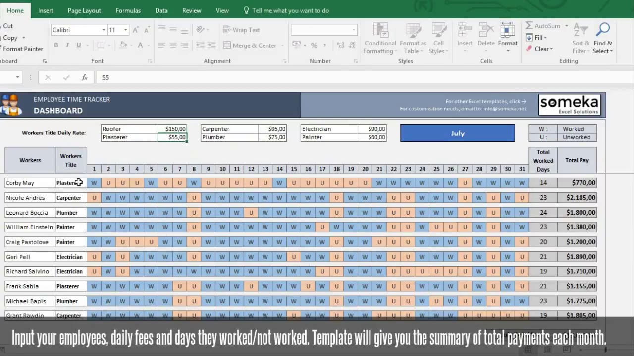 payroll template excel timesheet free download youtube