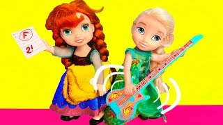 Barbie Doll and Elsa, Anna toddlers after School fun, play guitar  Puppy eats Homework!