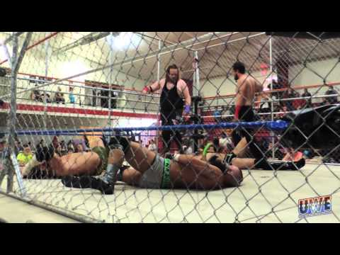 UWE Tag Team Steel Cage Match!  The Loaded Guns vs. The Rising