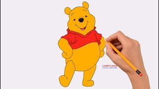 How to Draw Winnie The Pooh Step by Step Easy | Coloring Page, Drawing Learn Colors For Kids