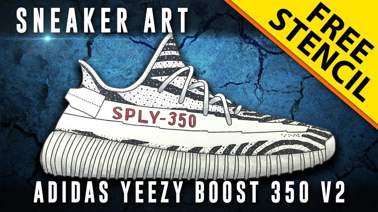 18b10d2e6d0 Sneaker Art  Adidas Yeezy Boost 350 V2 Zebra w  Downloadable Stencil ...