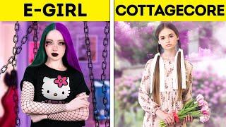 E-GIRL VS. COTTAGECORE GIRL || Awesome TIKTOK Trends || Style, Fashion, Makeup