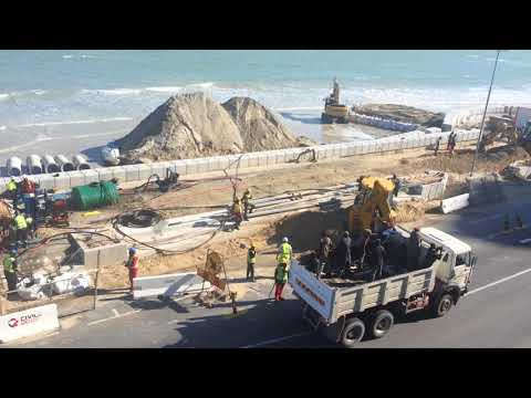 Construction of Boardwalk, Strand, Cape Town, South Africa