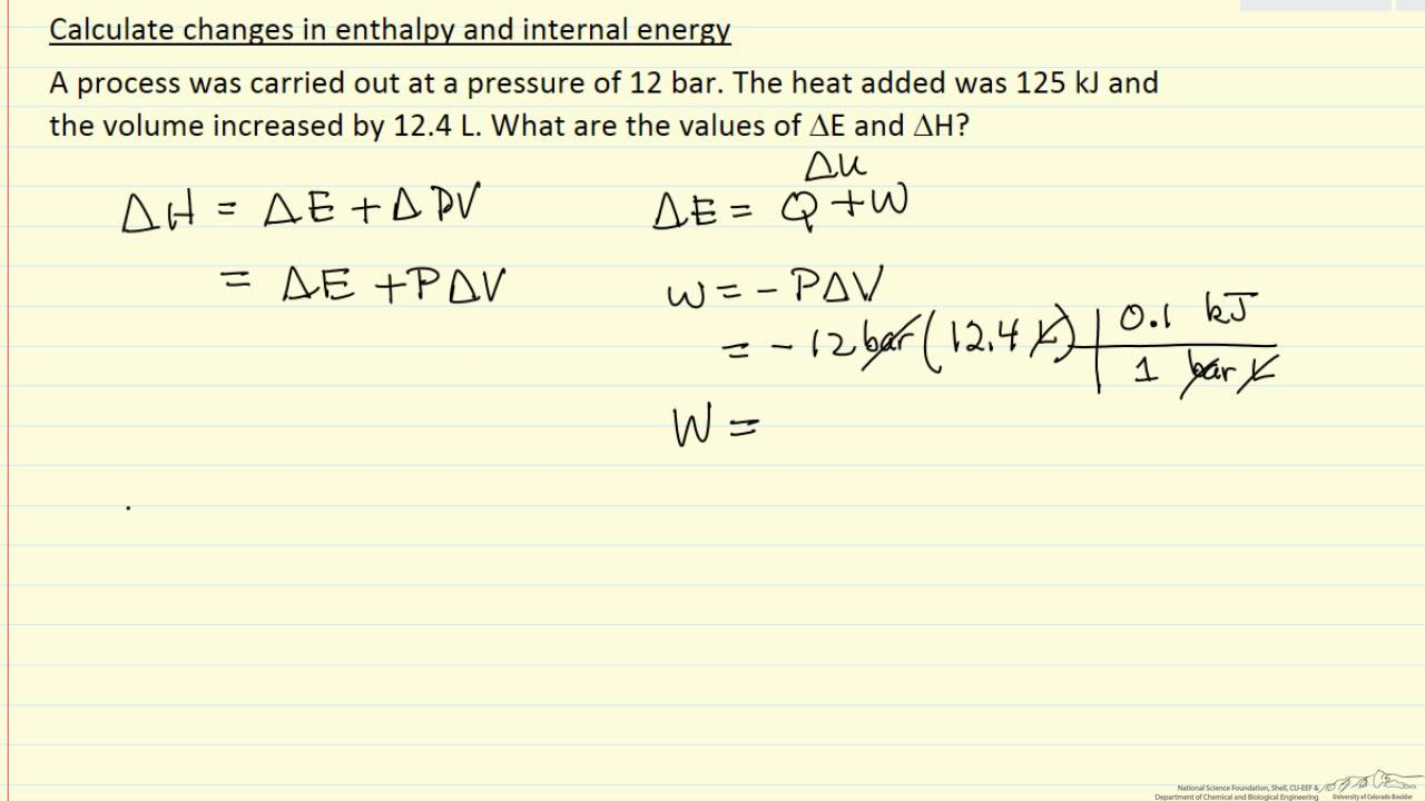 Changes in Enthalpy and Internal Energy (Example)