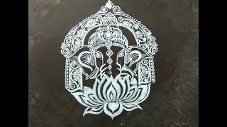 ganesh chaturthi muggulu designs with brush effects- vinayagar chaturthi kolam/GANESH ALPONA/ALPONA