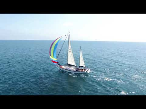 Hans Christian 43 Sailing with Spinnaker from Santa Barbara to Ventura
