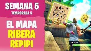 SIGUE EL MAPA DEL TESORO DE RIBERA REPIPI | Desafíos semana 5 temporada 5 Fortnite Nintendo Switch