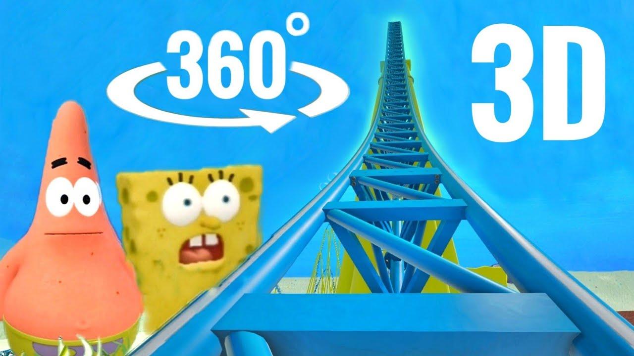 🟣 3D 360° Video Roller Coaster VR SpongeBob Virtual Reality Underwater in Bikini Bottom